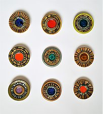 Wall Jewel Circle Grid by Janine Sopp (Ceramic Wall Sculpture)