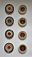 Circle Grid in Black, White, and Red by Janine Sopp (Ceramic Wall Sculpture)