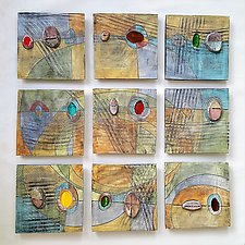 Nine-Piece Time and Space with Glass by Janine Sopp (Ceramic Wall Sculpture)