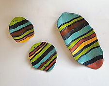 Carved Bright Stripes by Janine Sopp (Ceramic Wall Sculpture)