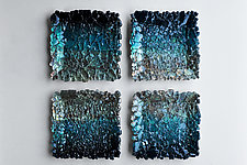 Black and Teal Ombre Modular Wall Sculpture by Mira Woodworth (Art Glass Wall Sculpture)