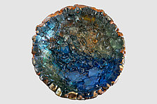 Blue Wall Flower by Mira Woodworth (Art Glass Wall Sculpture)