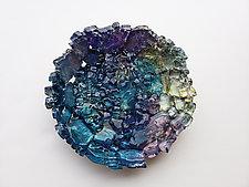 Teal & Plum Wall Flower by Mira Woodworth (Art Glass Wall Sculpture)