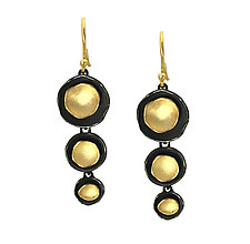 Triple Dishy Earrings in Black & Gold by Sarah Richardson (Gold & Silver Earrings)