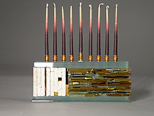 Jerusalem Skyline Menorah by Alicia Kelemen (Art Glass Menorah)