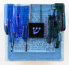 Blessing Art Plaque Shin in Cobalt by Alicia Kelemen (Art Glass Wall Sculpture)
