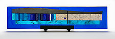 Western Wall Blue Skyline Sculpture - Gala I by Alicia Kelemen (Art Glass Sculpture)