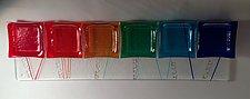 Flat Rainbow Seder Plate by Alicia Kelemen (Art Glass Seder Plate)