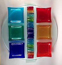 Rainbow Icicle Seder Plate II by Alicia Kelemen (Art Glass Seder Plate)