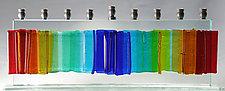 Medium Gala Rainbow Menorah by Alicia Kelemen (Art Glass Menorah)