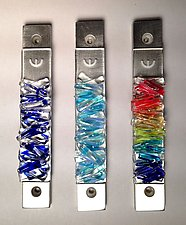 Woven Clear Lines Mezuzah by Alicia Kelemen (Art Glass Mezuzah)