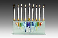 Rectangular Medium Half Moon Menorah in Rainbow by Alicia Kelemen (Art Glass Menorah)