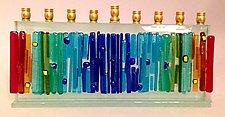 Medium Rectangular Rainbow Menorah by Alicia Kelemen (Art Glass Menorah)