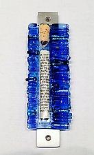 Light Blue Wedding Mezuzah II by Alicia Kelemen (Art Glass Mezuzah)