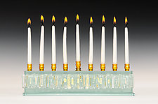 Diamond Icicle Collection Menorah in Clear by Alicia Kelemen (Art Glass Menorah)