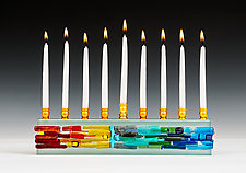 Parting of the Sea Menorah in Icicle Rainbow by Alicia Kelemen (Art Glass Menorah)