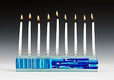 Parting of the Sea in Blues by Alicia Kelemen (Art Glass Menorah)