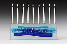 Parting of the Sea Blues I - Medium by Alicia Kelemen (Art Glass Menorah)