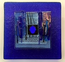 Hamsa Blessing Plaque I in Cobalt by Alicia Kelemen (Art Glass Wall Sculpture)