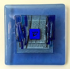 Shin Blessing Plaque I in Light Blue by Alicia Kelemen (Art Glass Wall Sculpture)