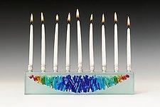 Woven Rainbow Menorah I by Alicia Kelemen (Art Glass Menorah)
