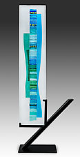 Aqua Blue Waterfall by Alicia Kelemen (Art Glass Sculpture)