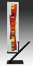 Tangerine Waterfall by Alicia Kelemen (Art Glass Sculpture)