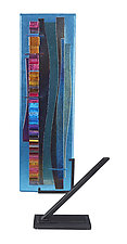 Turquoise Waterfall Sculpture II by Alicia Kelemen (Art Glass Sculpture)