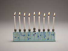 Sapphire Jerusalem Skyline Menorah by Alicia Kelemen (Art Glass Menorah)