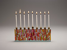 Jewel Sunset Jerusalem Skyline Menorah by Alicia Kelemen (Art Glass Menorah)