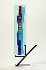 Rainbow Sea Waterfall by Alicia Kelemen (Art Glass Sculpture)