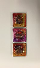 Sunset Coral Triptych by Alicia Kelemen (Art Glass Wall Sculpture)