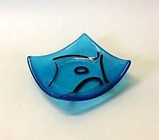 Turquoise and Black II by Alicia Kelemen (Art Glass Bowl)