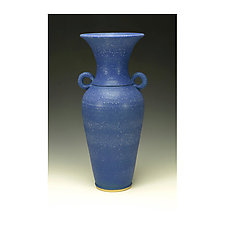 Cobalt Blue Matte Glazed Vessel with Handles by Lance Timco (Ceramic Vessel)