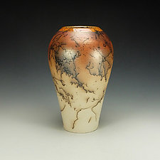 Rounded Horse Hair Jar by Lance Timco (Ceramic Vase)
