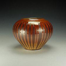 Rounded Striped Raku Jar by Lance Timco (Ceramic Vase)
