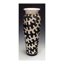 Black and White Raku Puzzle Vessel by Lance Timco (Ceramic Vase)