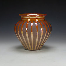 Raku Vessel with Striped Crackle Glaze #3 by Lance Timco (Ceramic Vessel)