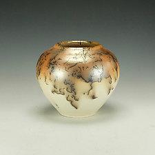Horse Hair Raku Vase by Lance Timco (Ceramic Vase)