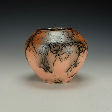 Horsehair Raku Pottery Vessel XII by Lance Timco (Ceramic Vessel)
