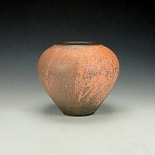 Naked Raku Vessel in Orange II by Lance Timco (Ceramic Vase)