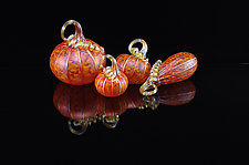 4 Piece Pumpkin Set - Tangelo by Corey Silverman (Art Glass Sculpture)