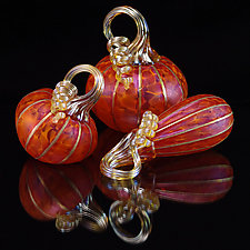 Petite Pumpkin Set - Tangelo by Corey Silverman (Art Glass Sculpture)