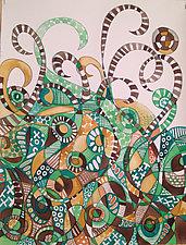Skin, Hair & Water Series #15, Green Jungle by Melissa Leaym-Fernandez (Watercolor Painting)