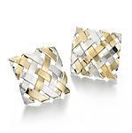 18K on Sterling Hand-Woven Square Earrings by Gabriel Ofiesh (Gold & Silver Earrings)