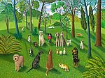 The Dog Park III by Jane Troup (Giclee Print)