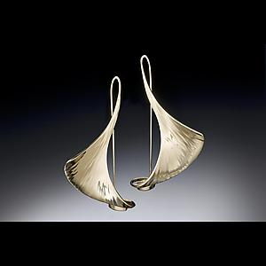 Large Ginkgo Earrings with Catch: Stephen LeBlanc: Gold or Silver Earrings - Artful Home :  shopping sterling silver handmade jewerly