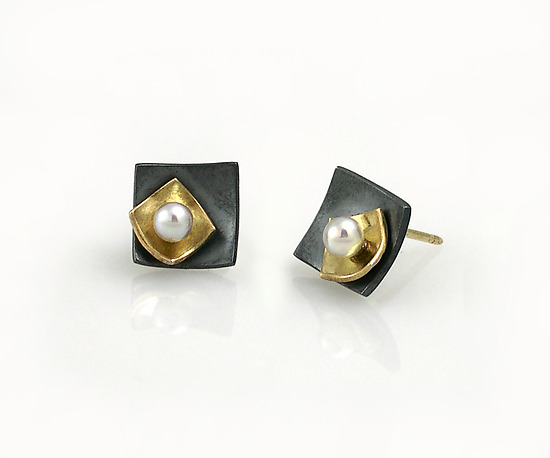 Mini Square Studs with Pearl