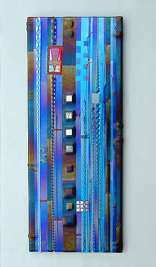 Blue Sky Panel In Cobalt And Aqua By, Fused Glass Artwork Wall
