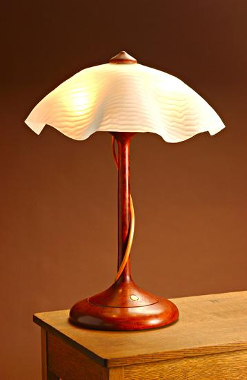 Table Lamp With Ridged Shade